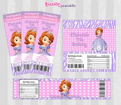 sofia printables invitation candy bar wrapper water