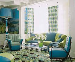 living room 50s classic interior design with black leather sofa