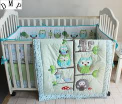 Baby Boy Cot Bedding Sets Promotion 7pcs Woodpecker Embroidery Baby Boy Crib Cot Bedding
