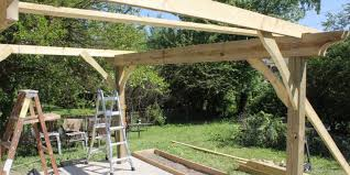 Building A Pergola Attached To The House by How To Build A Pergola In Two Days On A Budget Detailed How To