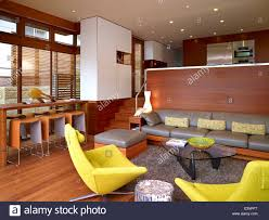 split level open plan living room and kitchen stock photo royalty