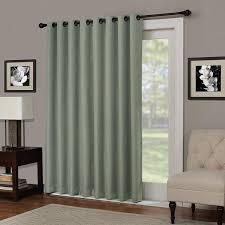84 inch sage solid color blackout sliding door curtain green