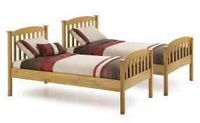 rustic wooden twin size bed frame with foot and headboard of