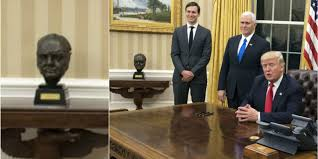 Trumps Oval Office by President Donald Trump Returns Bust Of Sir Winston Churchill To