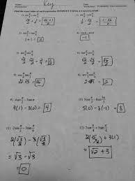 trigonometric identities worksheet with solutions the best and