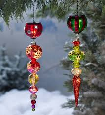 Lighted Outdoor Christmas Decorations by Solar Finial Holiday Ornament In Glass Outdoor Holiday