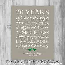 20 year anniversary gift 20th anniversary print personalized