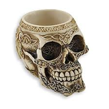 ceramic skeleton ring holder images Zeckos celtic knot skull pen holder home kitchen jpg