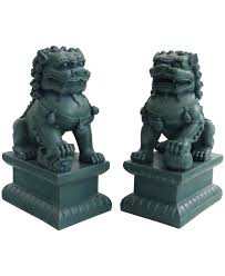 lion dog statue set of two guardian lion statues 18 inches
