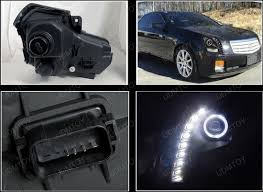 cadillac cts lights 03 07 cadillac cts black dual halo projector led headlights