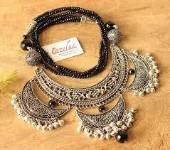 ethnic necklace design images Ethnic statement black onyx designer necklace set at 3550 azilaa jpg