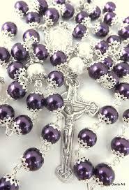 purple rosary purple rosary five decade catholic rosary sacred by amydavisart