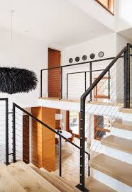 modern stair railing staircase contemporary with light wood treads