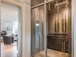 modern wine cellar with flush light u0026 slate tile floors in portola