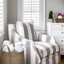 Striped Accent Chair Gray Striped Accent Chair In Corner Of Bedroom Transitional
