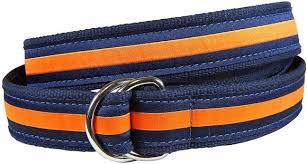 ribbon belts horizontal stripe orange navy d ring belt d ring belts artist