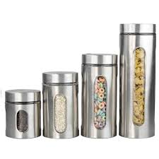 Unique Kitchen Canisters Sets by 100 Oggi Kitchen Canisters Oggi 3 Piece Stainless Steel