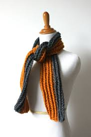 chunky ribbed mens scarf in orange and gray scarf mens