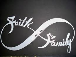 infinity symbol faith family on black background