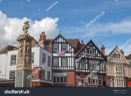 old wooden frame tudor buildings city stock photo 122380663