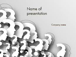faces with question marks powerpoint template backgrounds 13848