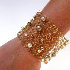 wrist cuff bracelet images Wide gold cuff bracelet wire knit jewelry pearl bracelet jpg