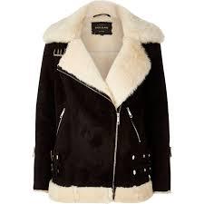 river island black shearling aviator jacket in black lyst