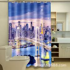 Fancy Shower Curtains Fancy Night Building 3d Printing Waterproof Polyester Thickened