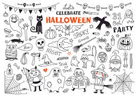 halloween cartoon drawings halloween drawings vector set of design elements royalty free