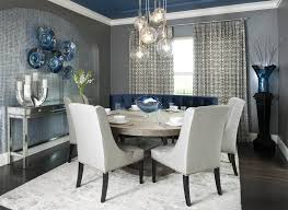 Dining Room Curtains Contemporary Dining Room With Grey Walls And Modern Curtains And