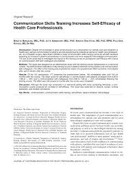 communication skills training increases self efficacy of health