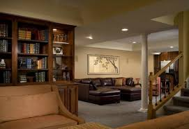 home interiors basement family room ideas with brown sofa and