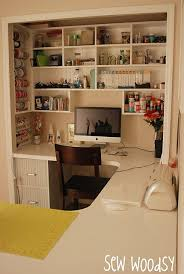 Closet Craft Room - here u0027s a sewing craft space with a u shaped desk fitted into a