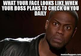 Meme Daily - what your face looks like when your boss plans to check on you daily