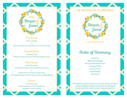 vow renewal program templates free vow renewal invitation set teal yellow garden party