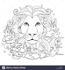 lovely lion coloring exquisite style stock vector art
