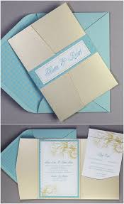 pocket fold invitations exclusive wedding printables adorable aqua gold