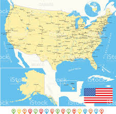 United States Map With Alaska by United States Map Flag Navigation Icons Roads Rivers Stock Vector