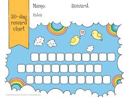 rainbow u0026 sky 30 day reward chart for kids free printable