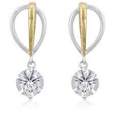 cubic zirconia drop earrings two tone finish cubic zirconia drop earrings jewelry binge
