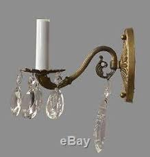 Vintage Crystal Sconces Brass U0026 Crystal Sconces C1950 Vintage Antique French Style Gold Wall