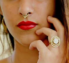 tribal brass septum for non pierced nose ring clip on cocoroots