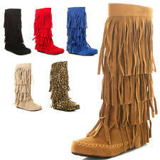 s boots with fringe flat 0 to 1 2 s zip boots ebay