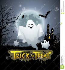 halloween design background happy halloween ghost and message trick or treat design stock