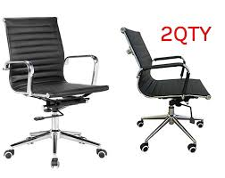 classic eames replica black pu leather medium back office chair