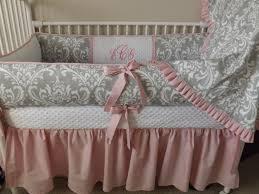 light pink crib bedding custom baby bedding crib set light pink and gray damask baby
