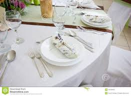 table set for wedding or another catered event dinner stock