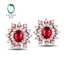 14kt gold earrings snow shape 1 02ct ruby 0 56ct diamond 14kt gold earrings