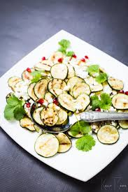 cuisin courgette grilled courgette salad with feta and pomegranate summer salad