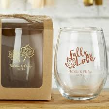 wedding favor glasses personalized stemless wine glass favors engagement bridal